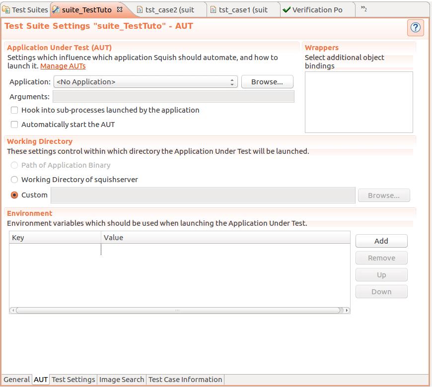 Figure 2 Test Suite Settings Automated testing framework